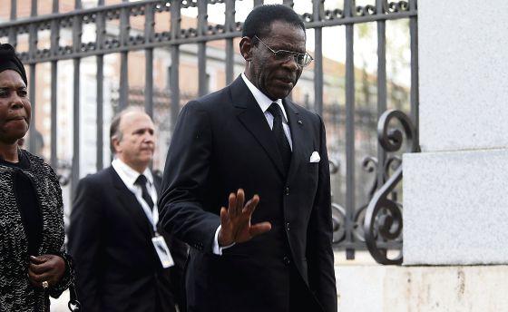 Teodoro Obiang, en el funeral por Suárez.