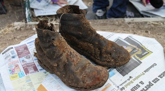 Boots that once belonged to Perfecto de Dios, whose remains were exhumed thanks to funding from a Norwegian union.