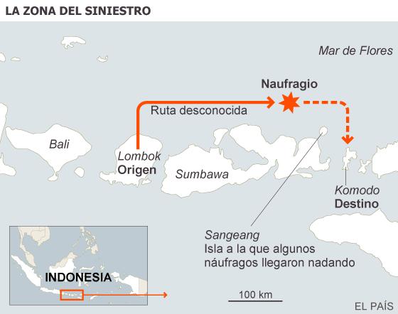 Dos turistas españoles, desaparecidos en el naufragio de un crucero en Indonesia