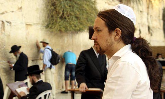 El eurodiputado Pablo Iglesias, este domingo frente al Muro de las Lamentaciones de Jerusalén.