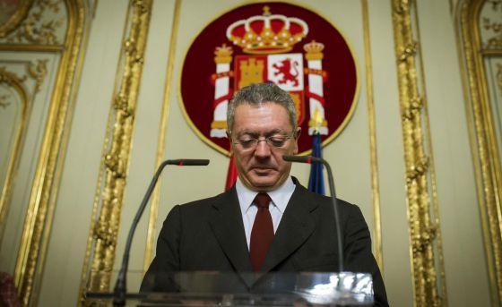 Alberto Ruiz-Gallardón, durante la rueda de prensa.