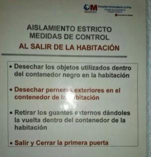 Instrucciones de protección contra el virus en la sexta planta del Instituto Carlos III en Madrid.