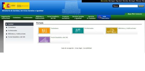 Captura de pantalla de la página web del Ministerio de Sanidad e Igualdad.