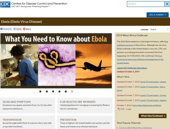Captura de pantalla de la página web del CDC de Estados Unidos.