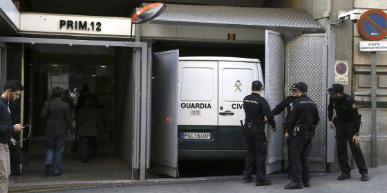 Un furgón de la Guardia Civil entra este jueven en la Audiencia Nacional.
