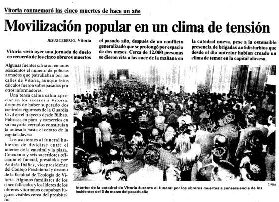 Página de EL PAÍS con el primer aniversario del 3 de marzo.