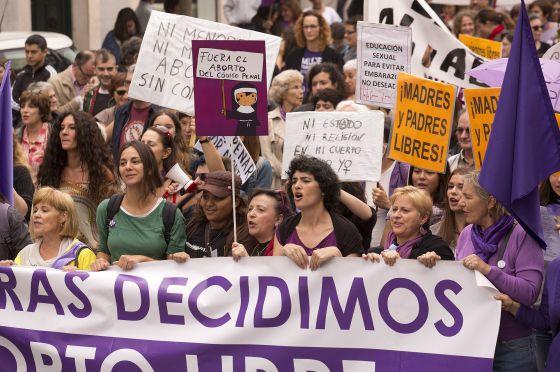 Manifestación a favor del aborto el pasado septiembre en Madrid.