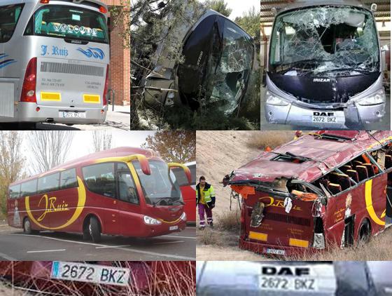 Imágenes del autobus de Murcia en el accidente de 2010 (plateado) y este fin de semana (granate).