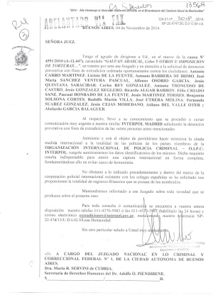 Notificación de Interpol Argentina a la juez María Servini de Cubría.