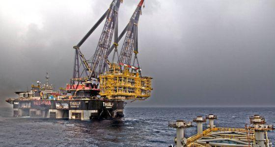 Instalación de la plataforma Castor para almacenar gas en aguas de Castellón.