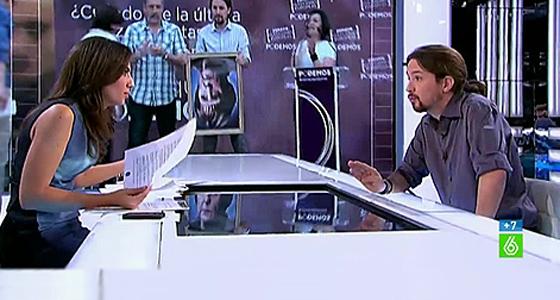 La periodista Ana Pastor entrevista a Pablo Iglesias.