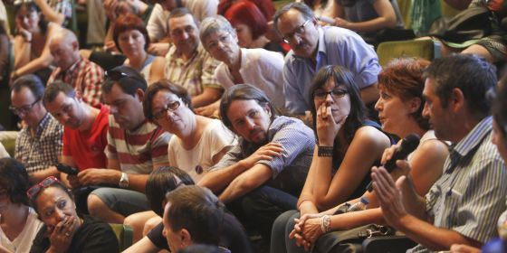 Pablo Iglesias en una asamblea de Podemos, el pasado junio.