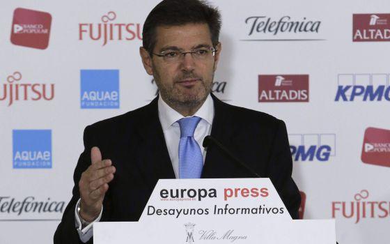 El ministro de Justicia, Rafael Catalá, en un acto este martes.