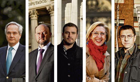 De izquierda a derecha: Pedro Gómez de la Serna (PP), Antonio Pradas (PSOE), Alberto Garzón (IU), Rosa Díez (UPyD) y Juan Carlos Monedero (Podemos).