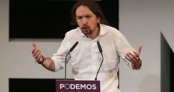 El líder de Podemos, Pablo Iglesias, durante una Asamblea Ciudadana.