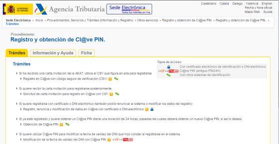 El portal remite a la Agencia Tributaria para la solicitud de una clave de acceso.