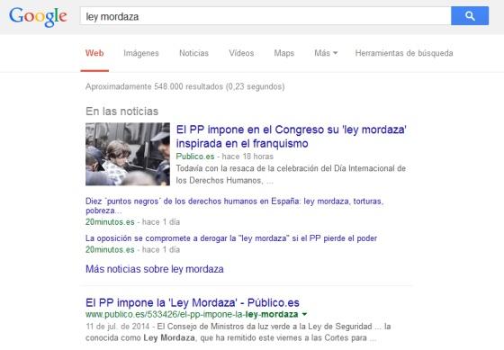 Un ejemplo de búsqueda de un contenido noticioso en Google