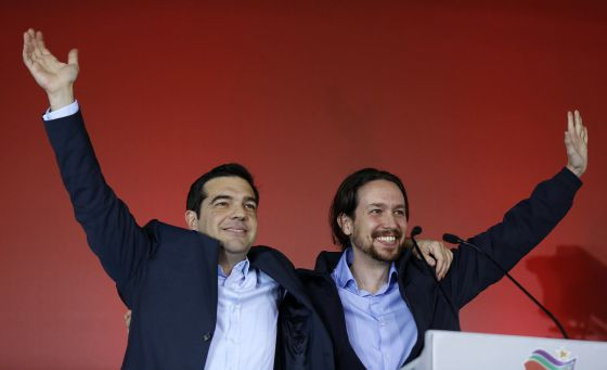 Podemos leader Pablo Iglesias (right) was with Alexis Tsipras at Syriza's closing campaign rally.
