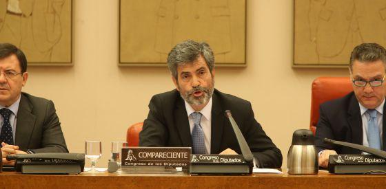 El presidente del Poder Judicial, Carlos Lesmes, en una comparecencia en el Congreso.