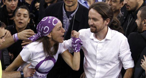 Pablo Iglesias en la asamblea de Podemos, en octubre.
