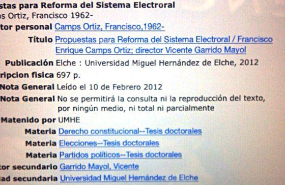Texto que figura sobre la tesis de Francisco Camps en la base de datos de la Universidad Miguel Hernández de Elche.
