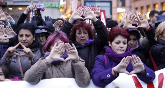 Una concentración contra la violencia de género en Madrid, en 2014.