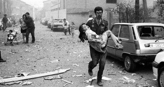 Imagen del atentado de Vic (Barcelona), el 29 de mayo de 1991.