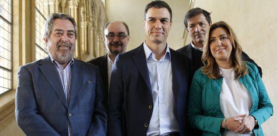 Belloch, Lambán, Sánchez, Fernández y Díaz, en noviembre en Zaragoza.