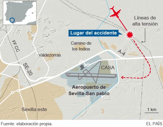 Cuatro muertos al estrellarse un avión en Sevilla en el primer vuelo de prueba