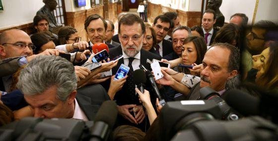 El presidente del Gobierno, Mariano Rajoy, este miércoles, tras la sesión de control al Gobierno.