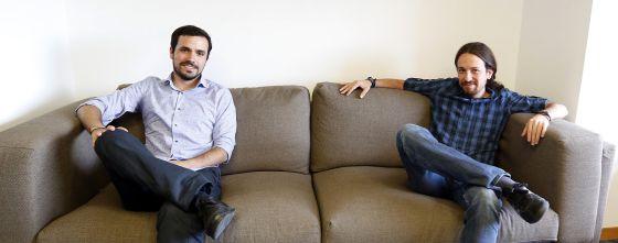 Pablo Iglesias y Alberto Garzon, durante su reunión de la pasada semana.