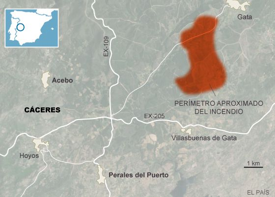 Localización del incendio activo en la Sierra de Gata, Extremadura.