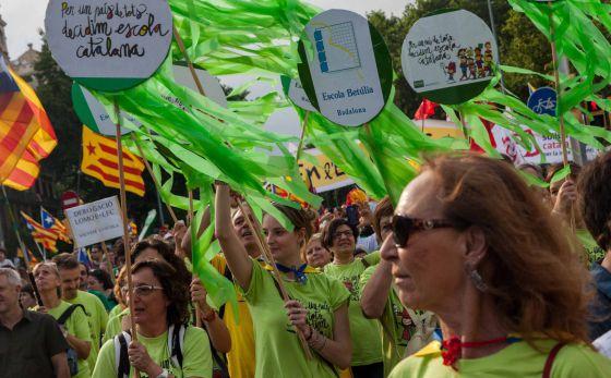 Manifestación por la enseñanza del catalán en Barcelona en 2014.