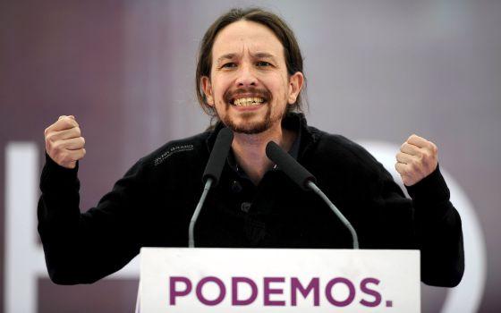 Pablo Iglesias en un mitin este jueves en Oviedo.