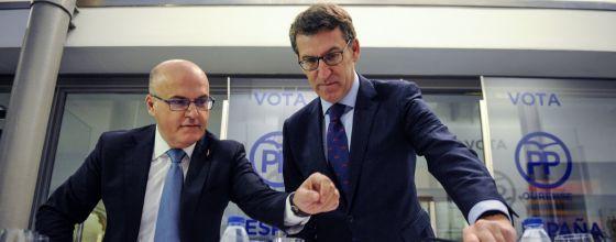El presidente del PP en Ourense, Manuel Baltar (izquierda), y Alberto Núñez Feijóo.