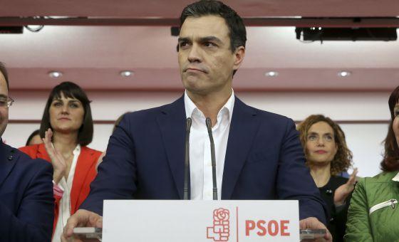 Pedro Sánchez tras conocer los resultados de las elecciones.