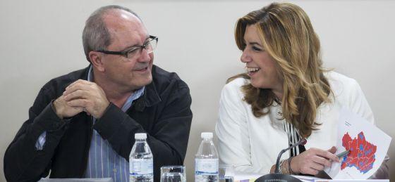 Susana Díaz, junto al secretario de Organización, Juan Cornejo