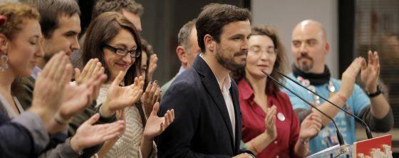 El candidato  Alberto Garzón en la sede de IU en Madrid.