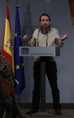 Pablo Iglesias, en rueda de prensa en La Moncloa tras reunirse con Rajoy el pasado 28 de diciembre.