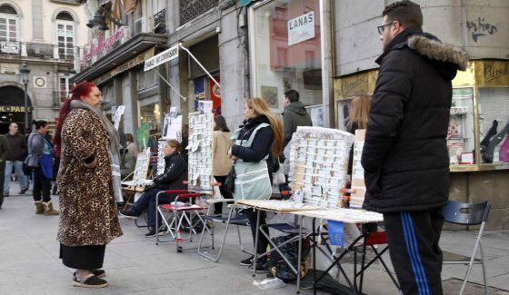Venta de loteria de El Niño en Madrid.