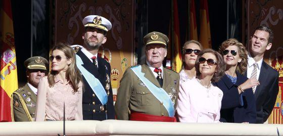 La familia real, con Cristina de Borbón e Iñaki Urdangarin, en una de las últimas imágenes juntos el 12 de octubre de 2011.