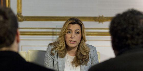 La presidenta de la Junta de Andalucía, Susana Díaz durante una reunión en Sevilla, este viernes.