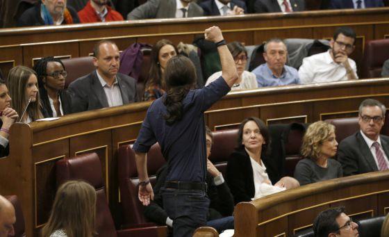 Pablo Iglesias tras su toma de posesión como parlamentario.
