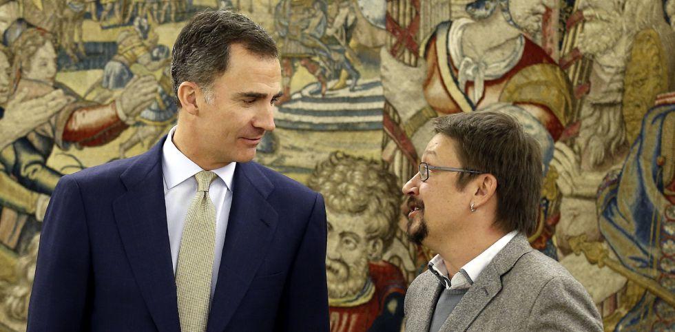 El Rey Felipe VI ha recibido est ejueves, en el Palacio de la Zarzuela, al portavoz de En Comú Podem, Xavier Domenèch.
