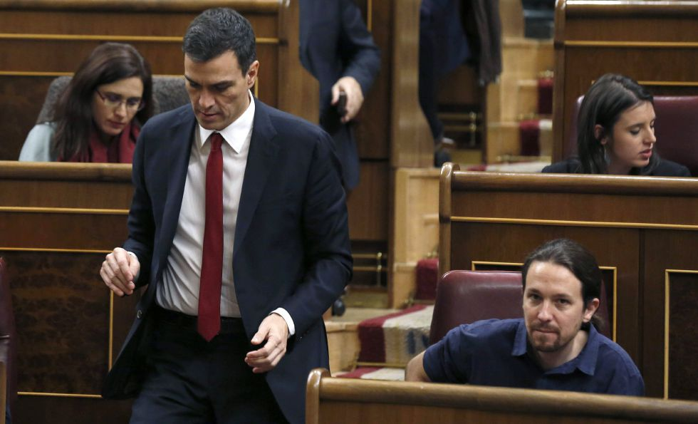 Sánchez e Iglesias en el Congreso el pasado 13 de enero.