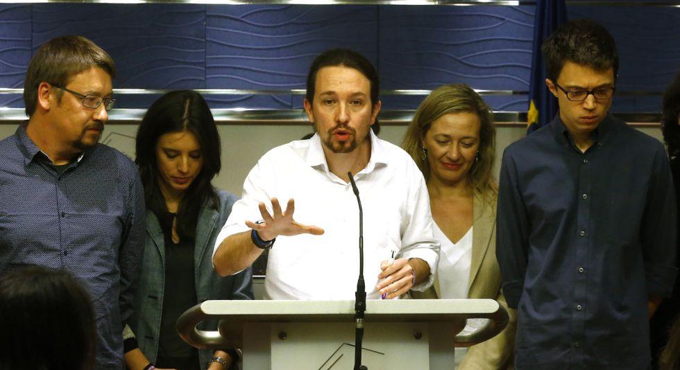 Rueda de prensa de Pablo Iglesias tras la entrevista con el Rey, el viernes