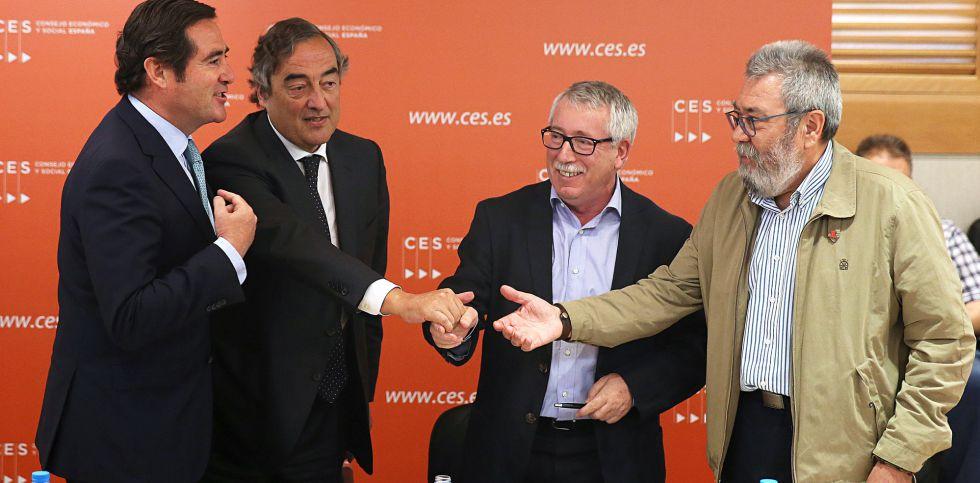 Firma del III acuerdo entre sindicatos y empresarios, Garamendi, Rosell, Toxo y Cándido Méndez.