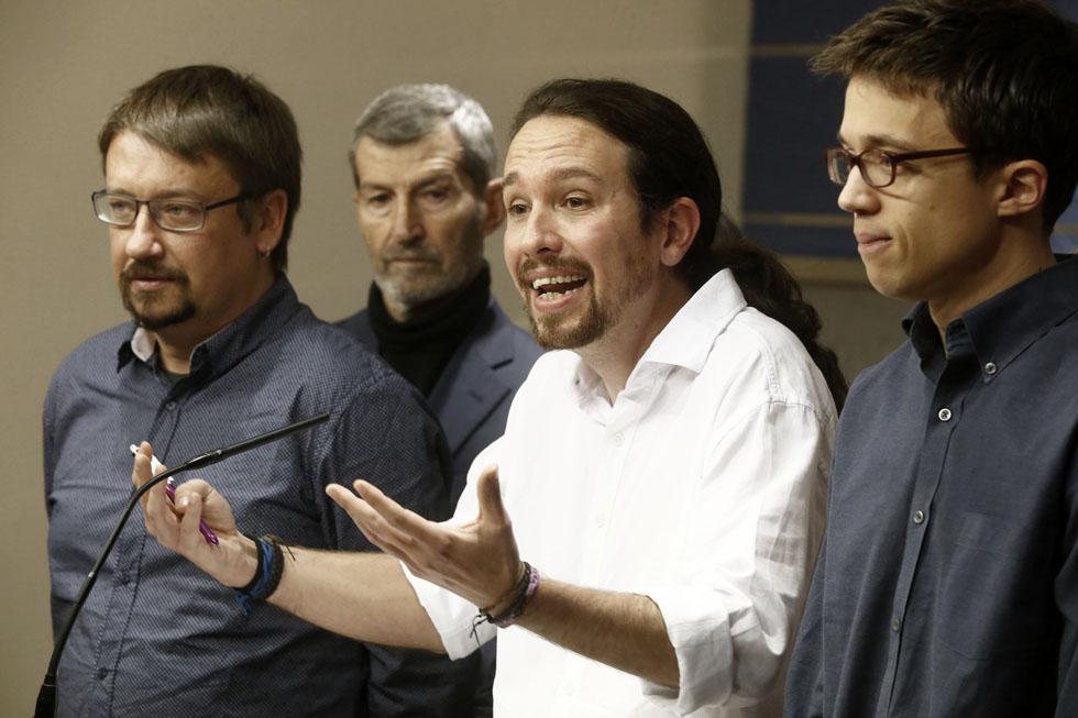 Xavi Domenech, Pablo Iglesias e Ínigo Errejón, el pasado día 22.