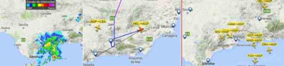 Imágenes difundidas por los controladores de las incidencias en Málaga por la tormenta.