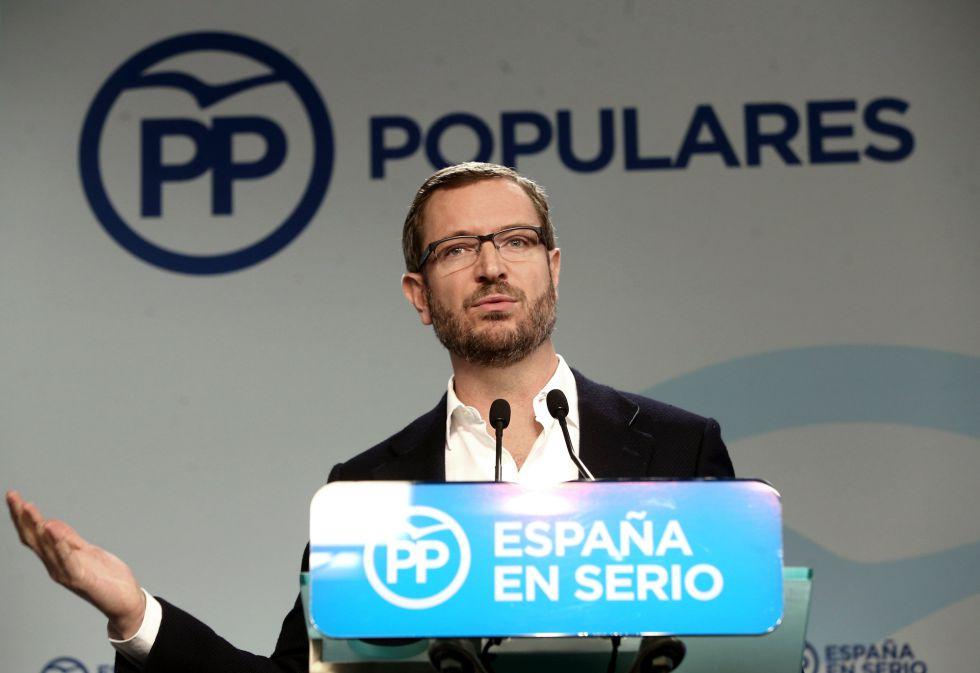 Javier Maroto, vicesecretario de Sectorial del PP hoy en rueda de prensa